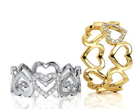 3D print model Heart Ring Band R BA 0021