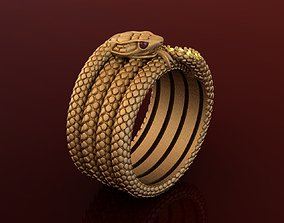 3D print model Snake Gem Gold Ring with Citrine and Ruby