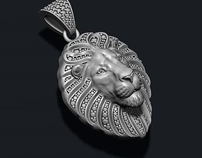 Lion pendant with diamonds and closed mouth 3D print model