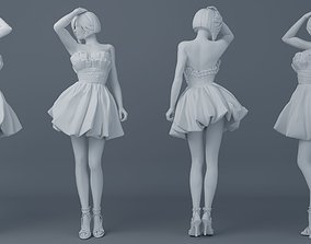 Pretty girl wearing a dress 003 3D printable model