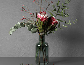 Bouquet of flowers with protea and eucalypt 3D