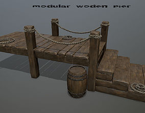 wooden pier stairs 3D asset low-poly