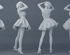 3D print model Pretty girl wearing a dress 001