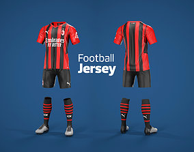 3D asset Football Jersey full outfit AC Milan Team