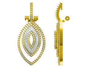 Marquise shape pendant baguette cut diamond 3D print model