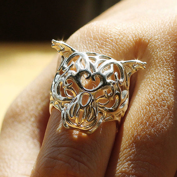 3D Printed Zodiac Tiger Ring - Chinese Astrology