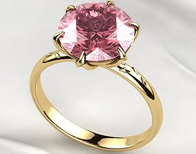 10mm Pink Sapphire Gold Ring 3D printable model