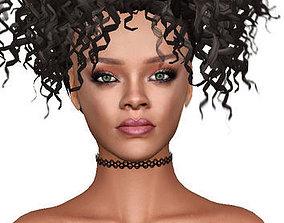 game-ready Rihanna Head Model