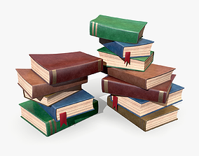 3D asset Stylized Book Pile lowpoly