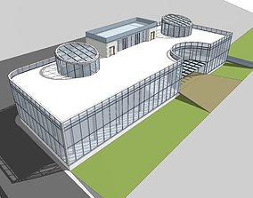 glass 3D model of a two-storey office building