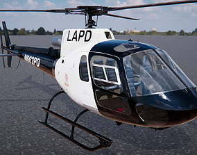 3D helicopter Low Poly PBR Police Eurocopter AS350