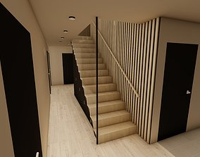 3D Stairs with and without glass wall