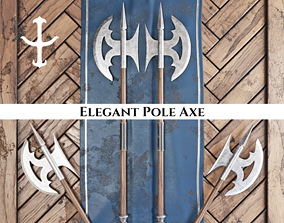 Medieval Elegant Pole Axe 3D asset