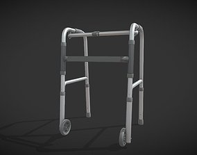 Old man walker aids with tire black 3D asset