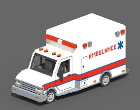 3D asset Voxel Ambulance