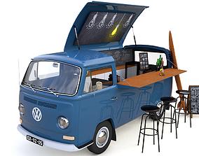 VW T2 FOOD AND COFFEE VAN 1974 3D