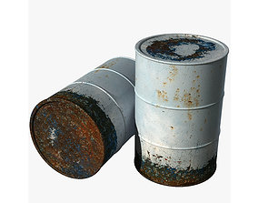 3D asset Old dirty with peeling paint barrel