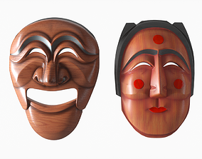 Korean Masks Hahoetal and Bunetal 3D