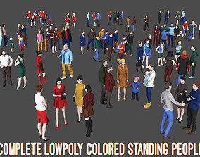 3D model Complete Colored Lowpoly Standing People
