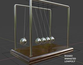 Newtons Pendulum Cradle Ball Rigged Animated 3D model 1