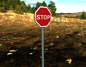 Stop Road Sign 3D model
