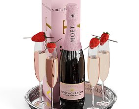 3D Champagne on a tray