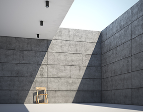 Bare concrete slab wall texture large surface 3D