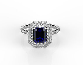 Emerald cut engagement ring 3D model