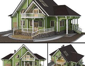 Log house - rounded log soffit 3D model
