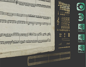 Music notes and symbols 3D model