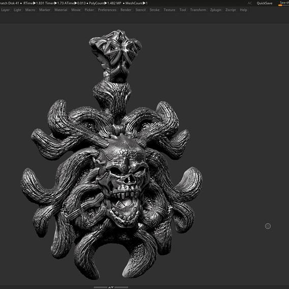 Skull Pendant 3d print model 19