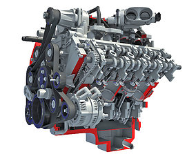 Sectioned Animated V8 Engine 3D
