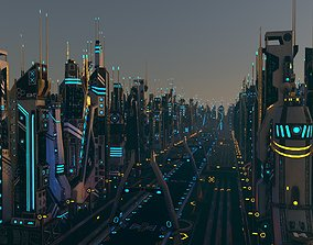 3D asset low-poly Sci-Fi City Package