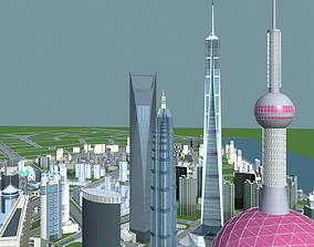 Urban Designed City with Skyscrapers 3D