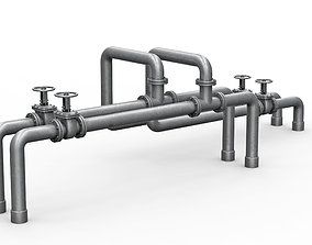 Industrial pipe assembly 3D model
