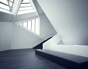 White Staircase Of An Art Gallery 3D