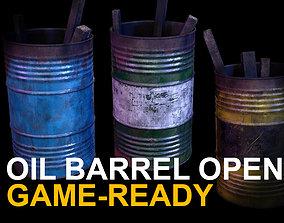 3D asset Oil barrel open Game Ready