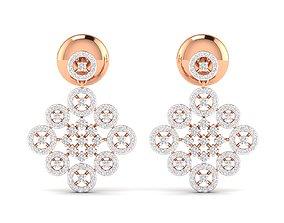 luxury gold Women earrings 3dm stl render detail