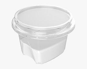 Yoghurt plastic box with paper label 3D
