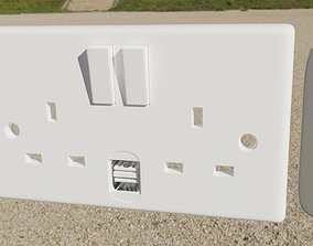 3D house electrical sockets collection