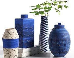 3D Indigo Ceramic Vases with Leaves