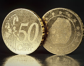 realtime Realistic 50 Cent - Euro - Low poly 3D model