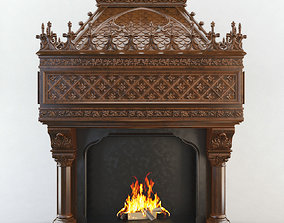Gothic Fireplace CNC 3D carved