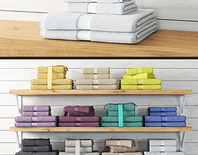 Set of towels 3D model bathhouse
