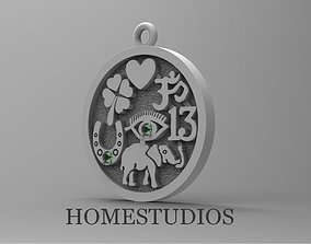 3D printable model PENDANT FOR GOOD LUCK with GEMS