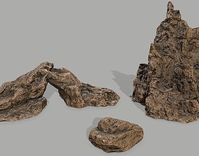 Rock set 3D model game-ready forest