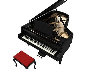 Grand Piano 3D model realtime