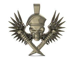 3D print model Soldier skull pendant