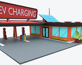 Cartoon Charging Station 3D asset game-ready
