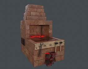 3D asset Black Smith Forge LowPoly